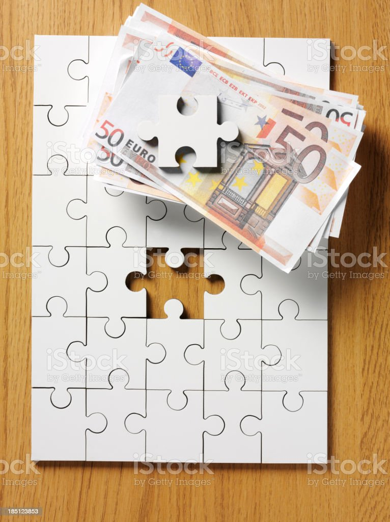 One puzzle piece missing on a blank jigsaw puzzle. Missing puzzle...