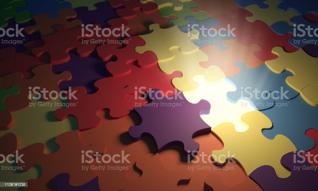 Missing puzzle piece and light rays in the middle of multi colored...