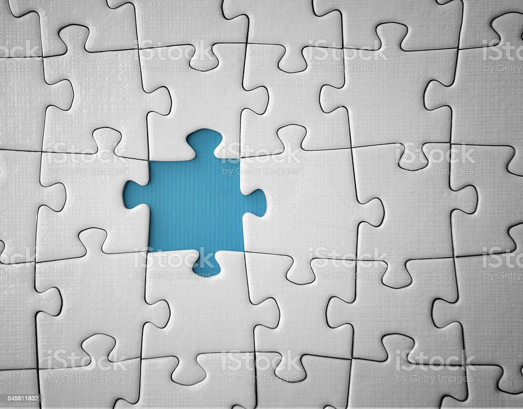 Last missing puzzle piece -Concept image of unfinished task and...