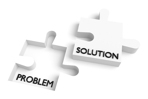 Missing puzzle piece, problem and solution, white
