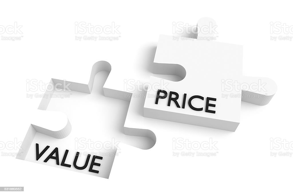 Missing puzzle piece, value and price, white stock photo