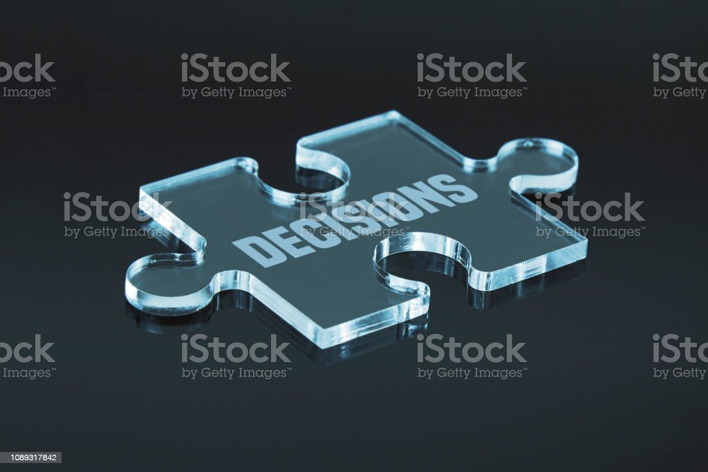 "Missing puzzle pieces ""Decisions"" concept. Black background with..."