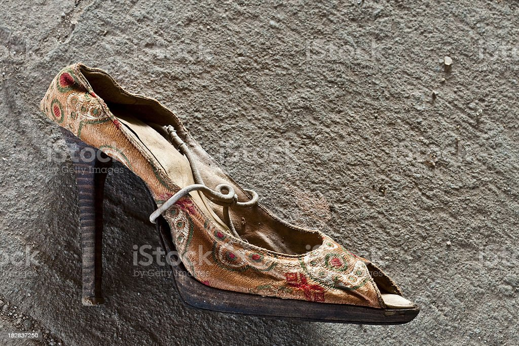 Found Beat Up High Heel of Missing Woman. Clue for abduction.