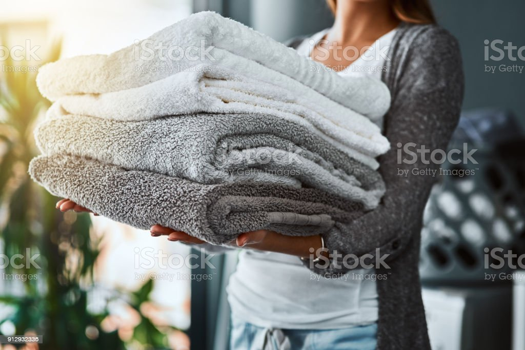 Mission accomplished, fresh and clean towels stock photo
