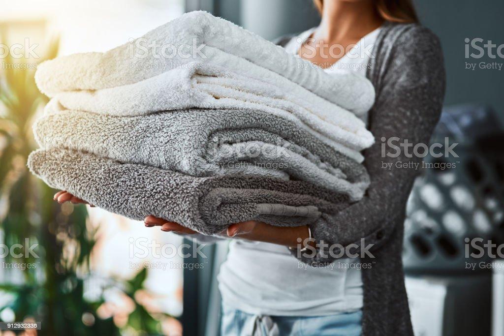 Mission erfüllt, frische und saubere Handtücher – Foto