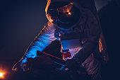 Astronaut taking rock samples on Mars