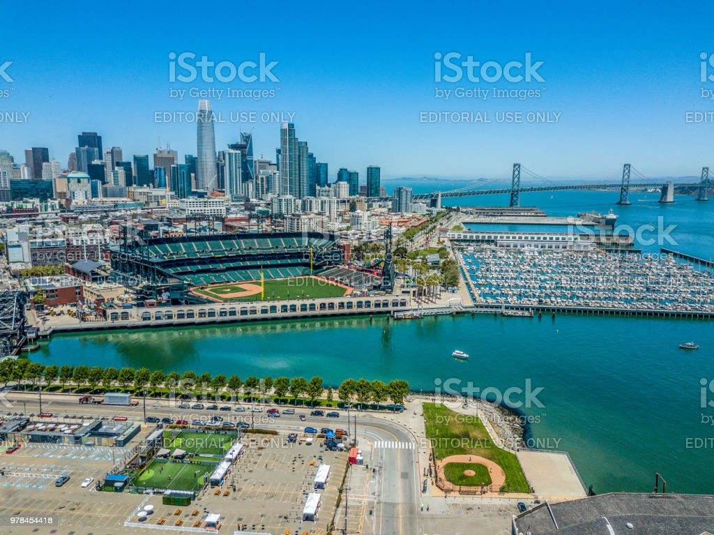 Mission Bay Aerial View of Stadium and Skyline stock photo