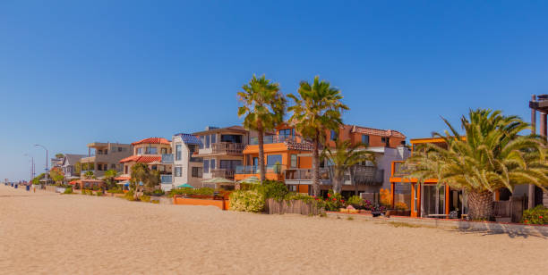 Mission Bay beach houses on sand in San Diego, California(P) stock photo