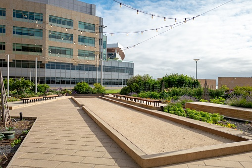 San Francisco, California, United States - June 20, 2019:  Bocce court and gardens on green roof in the Mission Bay neighborhood of San Francisco, California, June 20, 2019