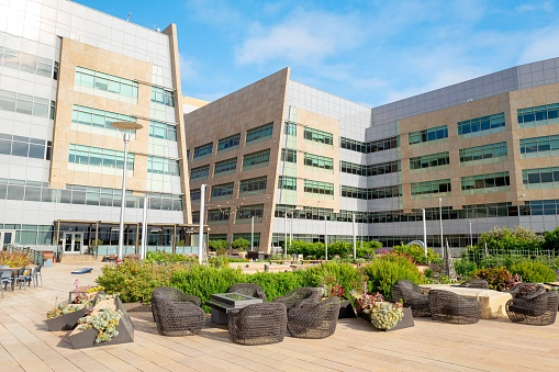 San Francisco, California, United States - June 20, 2019:  Green roof with gardens outside medical and technology building in the Mission Bay neighborhood of San Francisco, California, June 20, 2019