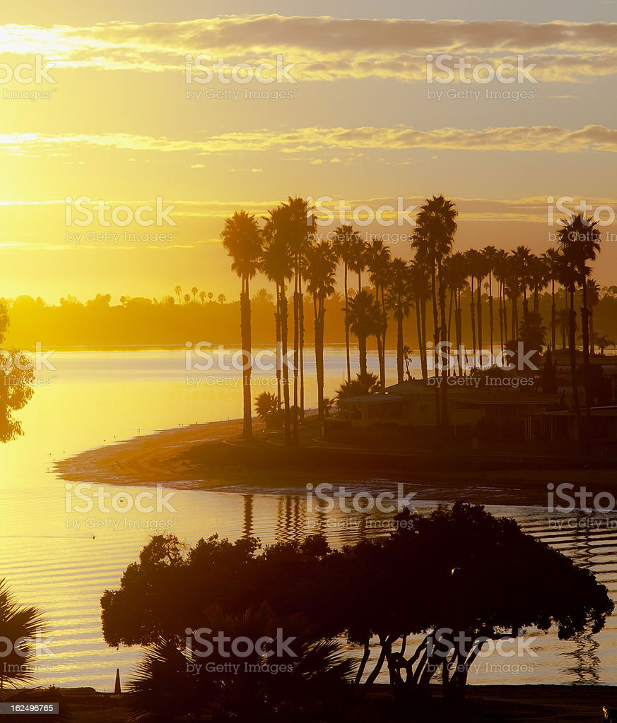Mission Bay San Diego, California at Sunset stock photo
