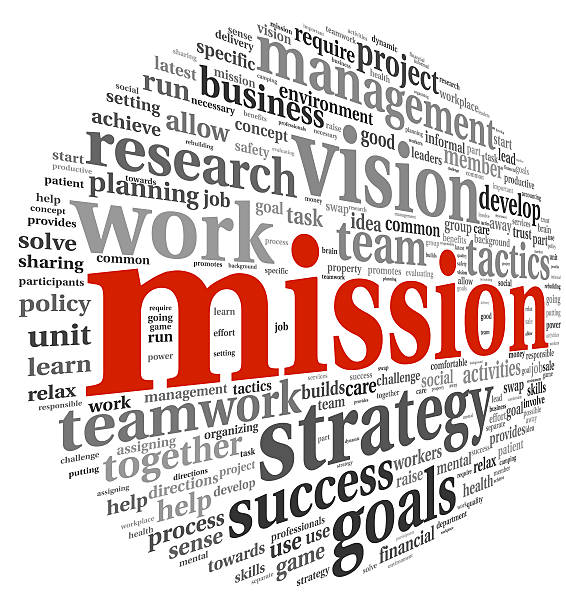 Mission concept in word tag cloud stock photo
