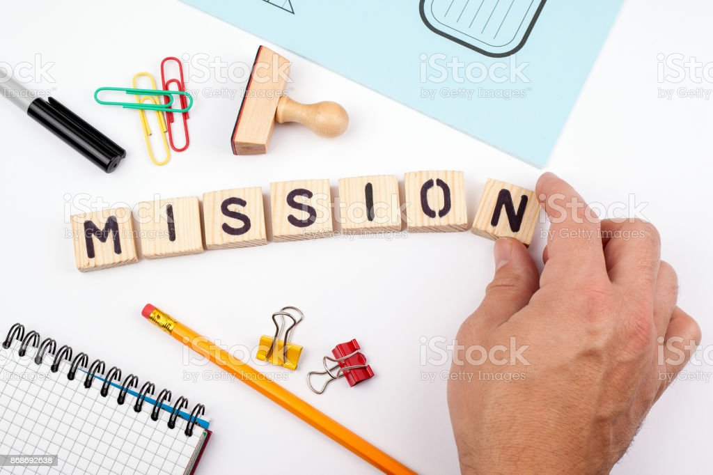 mission concept. Wooden letters on a white background stock photo