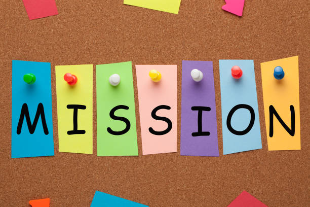 Mission Concept Word MISSION word written in colorful stickers pinned on cork board. Business concept bank statement stock pictures, royalty-free photos & images