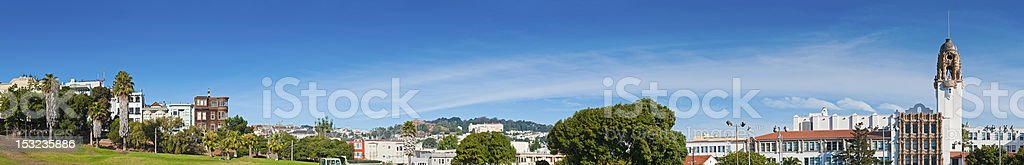 Mission District townhouses Dolores Park Castro panorama San Francisco California stock photo