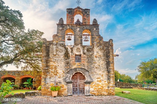 Stock photograph of Mission Espada in San Antonio Texas USA. It is part of the San Antonio Missions UNESCO World Heritage Site. Mission San Jose was founded in the early 18th  century as a Spanish Roman Catholic colonial mission.