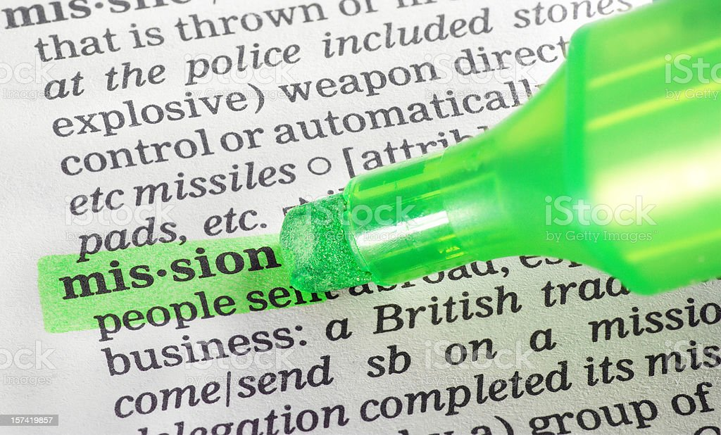 mission highligted in dictionary royalty-free stock photo