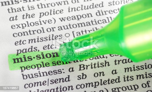 istock mission highligted in dictionary 157419857