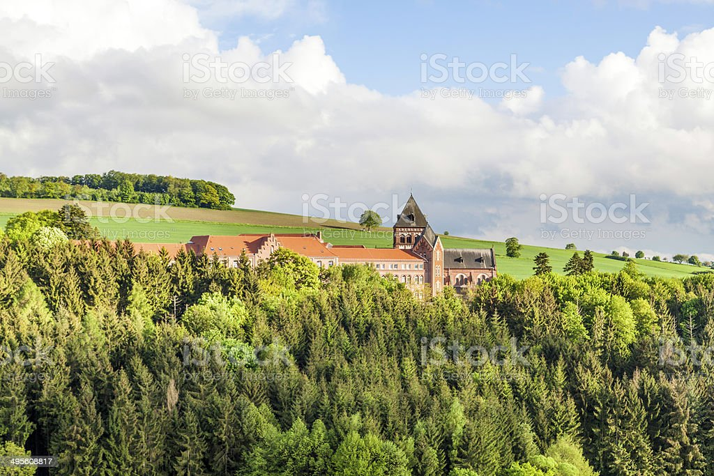 mission in St. wendel with fields and blue cloudy sky royalty-free stock photo