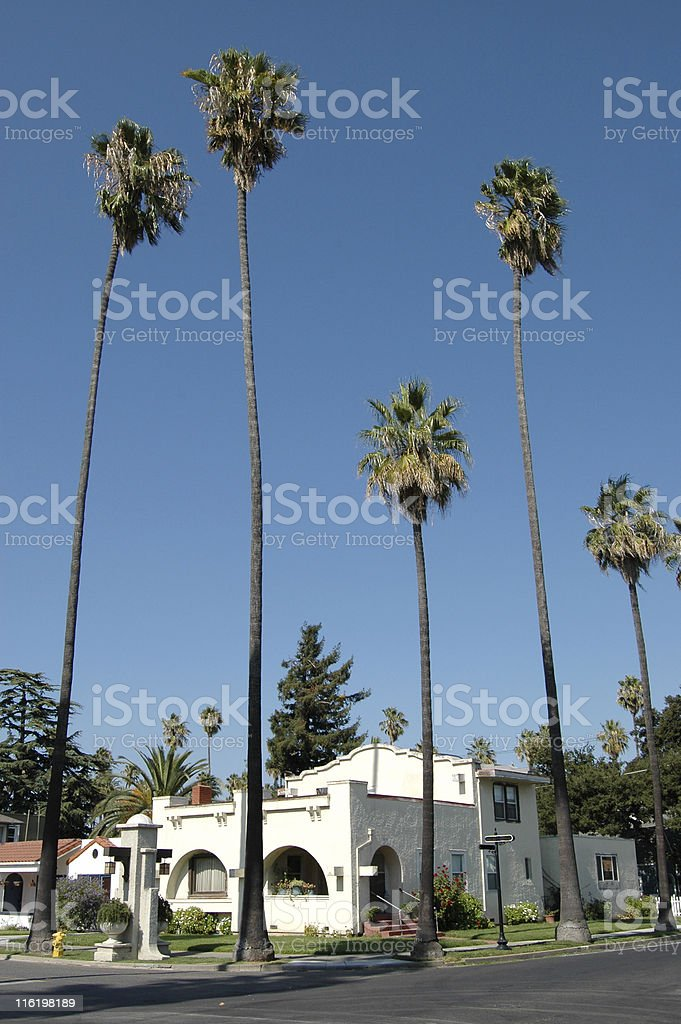 mission revival house stock photo