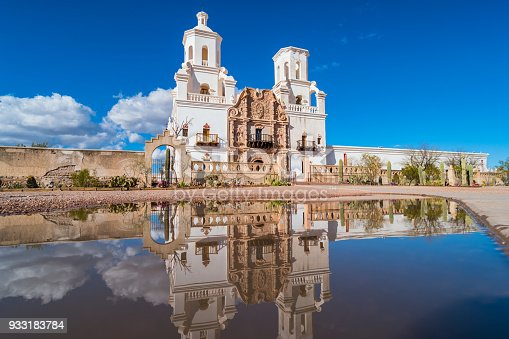 Stock photograph of the landmark Mission San Xavier del Bac Church in Tucson Arizona