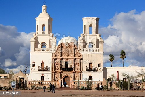 Tucson City, Arizona USA - Dec 26, 2018: The famous Mission San Xavier del Bac under a dramatic sky in Tucson City, Arizona on Dec 26, 2018