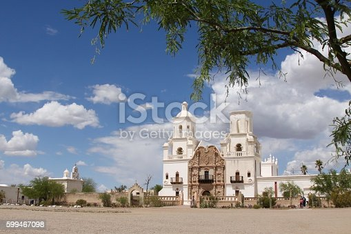 Mission San Xavier Del Bac just outside Tucson Arizonaa. The building was completed in 1797 as a Catholic mission. Today it is a National Historic landmark that still serves the religious needs of its visitors. It's often called,