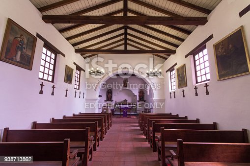 Santa Cruz, California - March 24, 2018: Inside the mission chapel replica of Mission Santa Cruz.