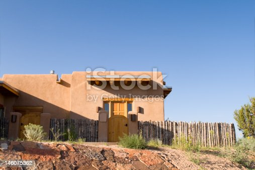 Adobe single family home in Santa Fe, New Mexico. USA.  - See lightbox for more