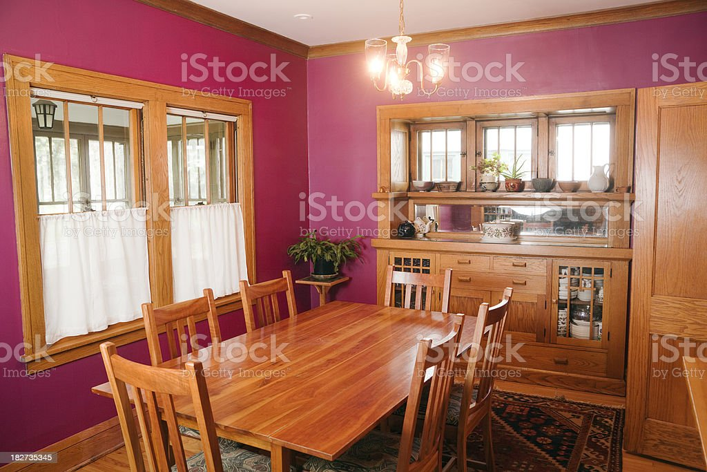 Mission Style Woodwork Magenta Walls Dining Room Home ...