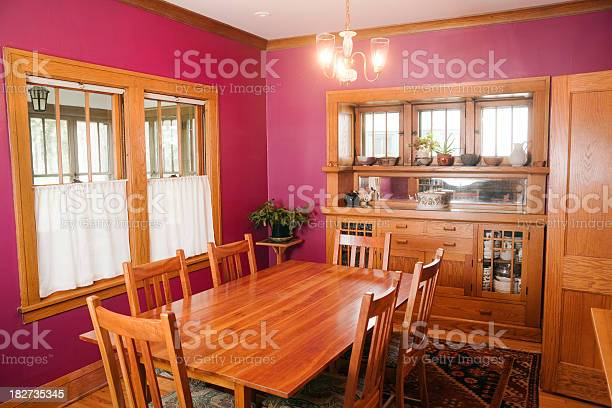 Mission Style Woodwork Magenta Walls Dining Room Home Interior Design Stock Photo Download Image Now Istock