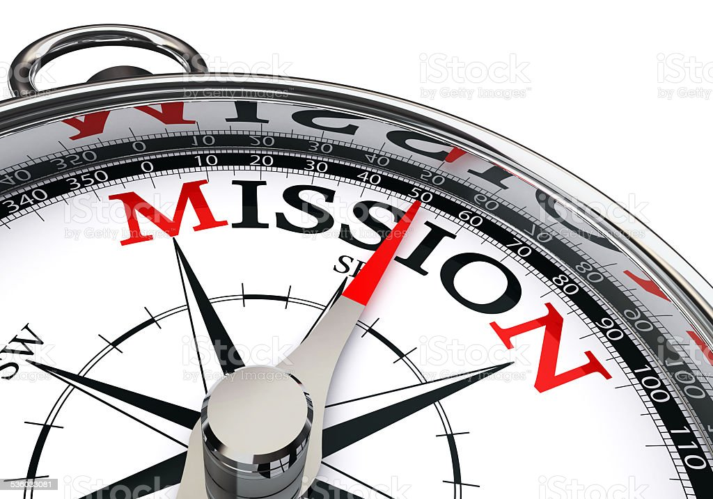 mission the way indicated by concept compass stock photo