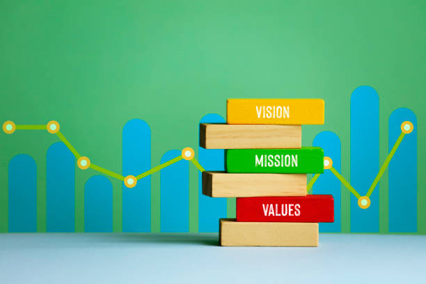 Mission, values,vision stock photo