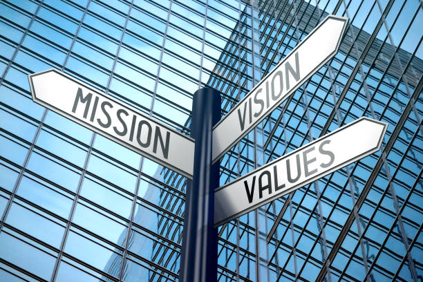 misión, visión, valores - cruce firma, edificio de oficinas - misión fotografías e imágenes de stock