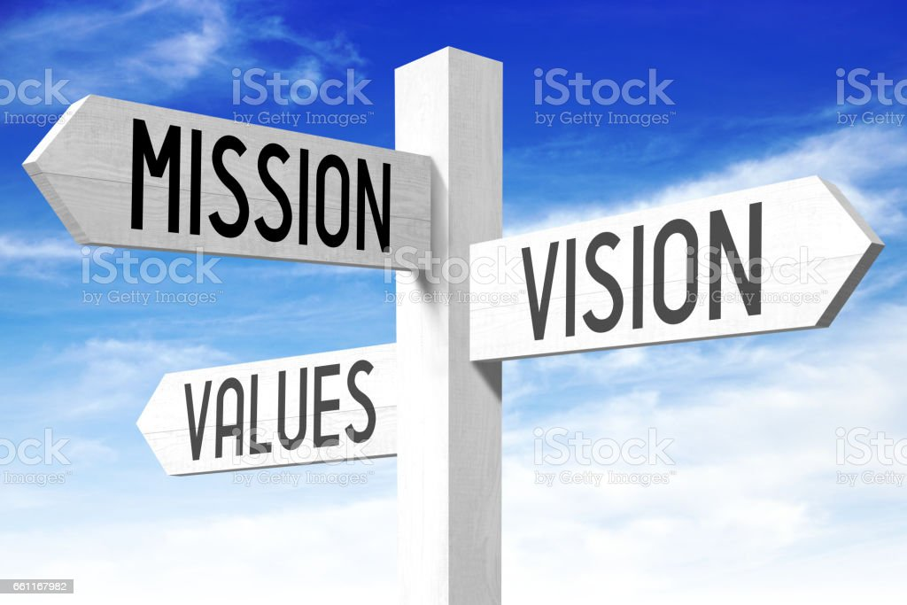 Mission, vision, values - signpost stock photo