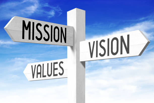 mission, vision, values - signpost - will stock photos and pictures