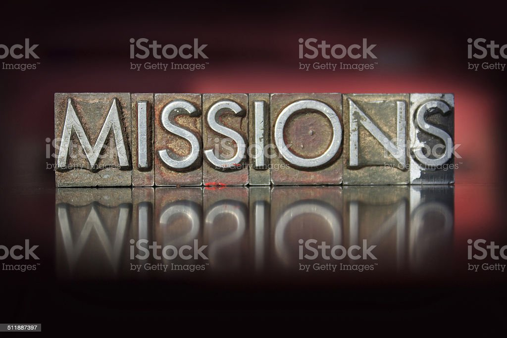 Missions Letterpress stock photo