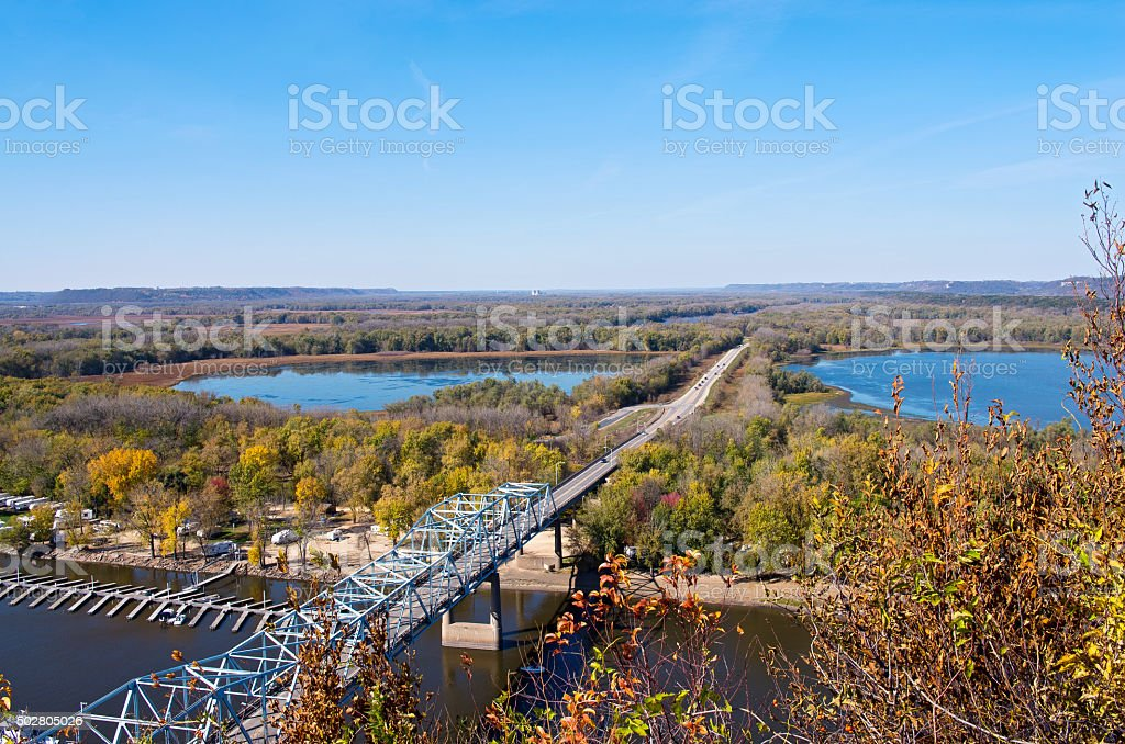 Mississippi River and Bridge into Wisconsin stock photo