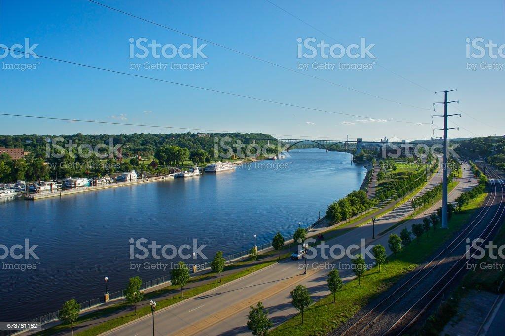 Fleuve Mississippi et de St. Paul, dans le Minnesota photo libre de droits