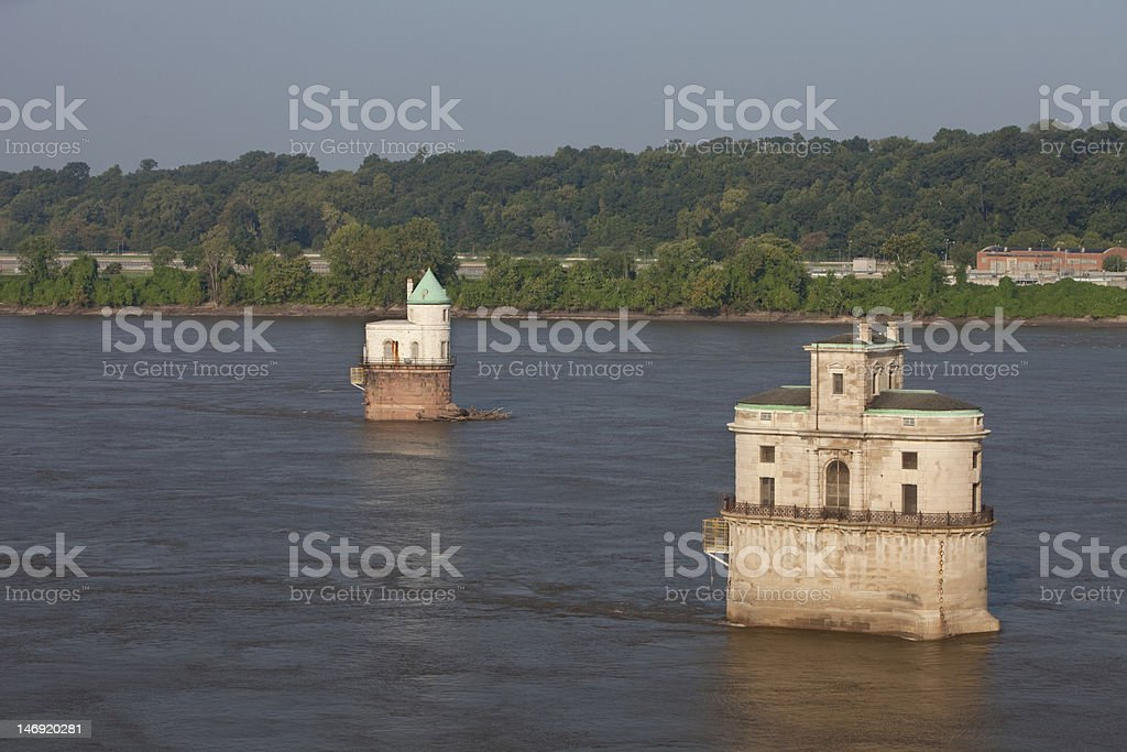 Mississippi River and water towers royalty-free stock photo