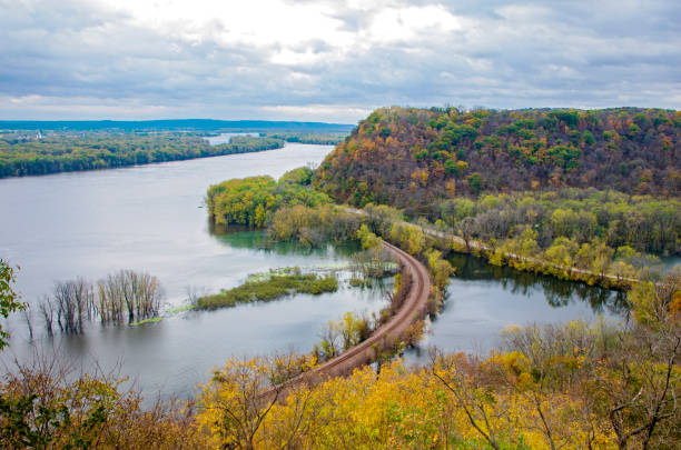 Mississippi River and Wooded Bluffs at Iowa Border stock photo