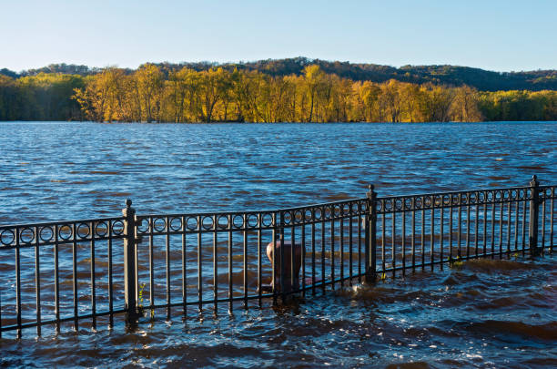 Mississippi River Autumn Horizon and Floodwater stock photo