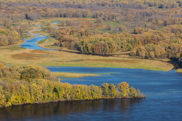 Mississippi River Backwaters In Autumn stock photo