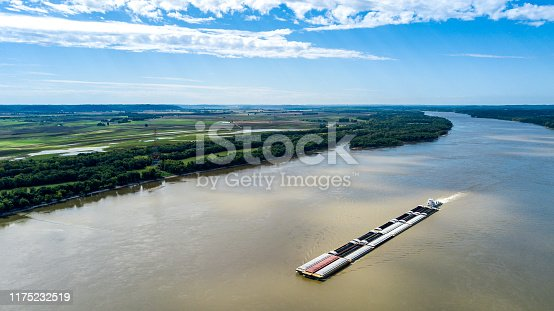istock Mississippi River Barge from Drone 1175232519