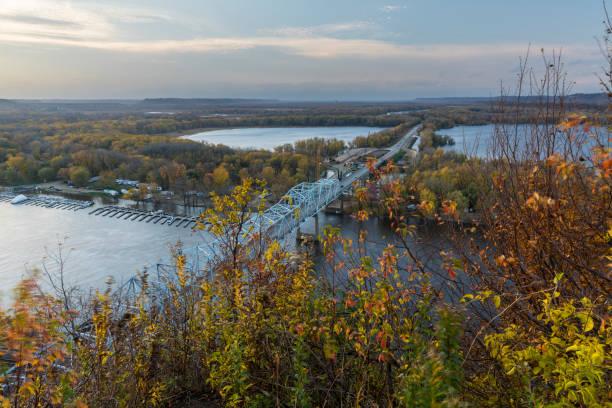 Mississippi River Bridge In Autumn stock photo