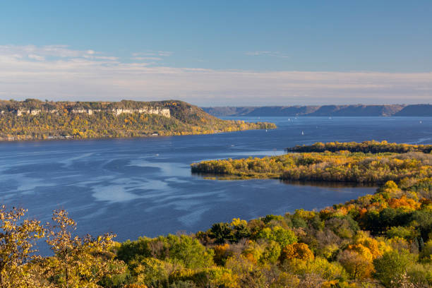 Mississippi River In Autumn stock photo