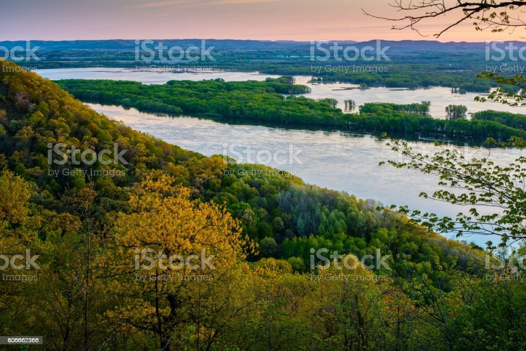 Mississippi River in Minnesota at Sunrise stock photo