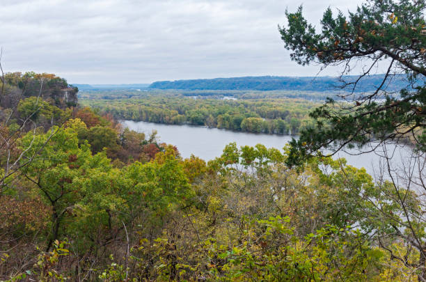 Mississippi River Overlook at Effigy Mounds stock photo