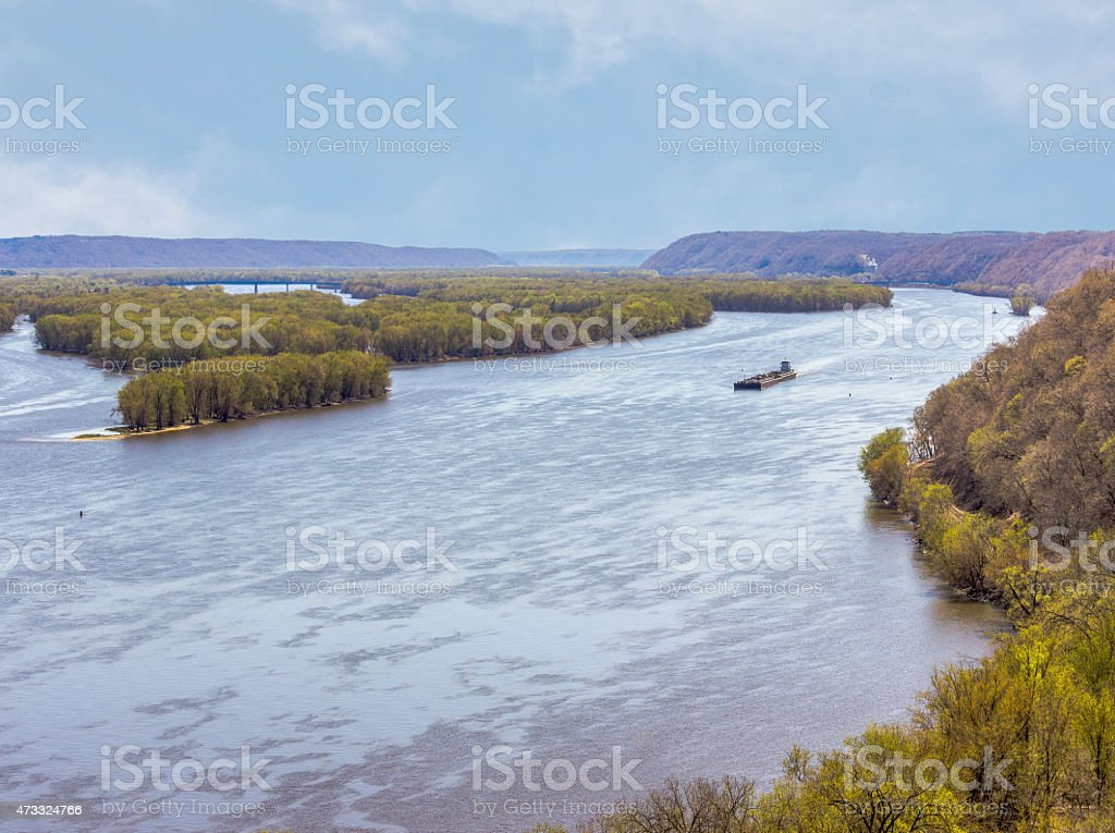 Mississippi River With Barge stock photo