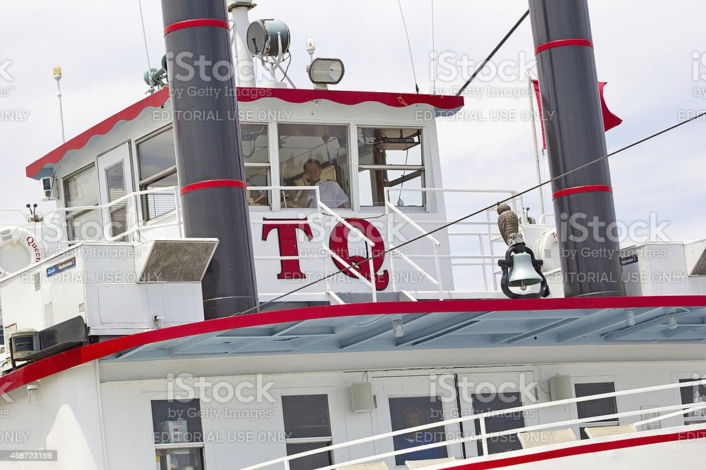 Mississippi Riverboat the Tunica Queen, Wheelhouse stock photo